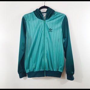 Adidas 80s Vintage Stripe Jacket Mint Green Large
